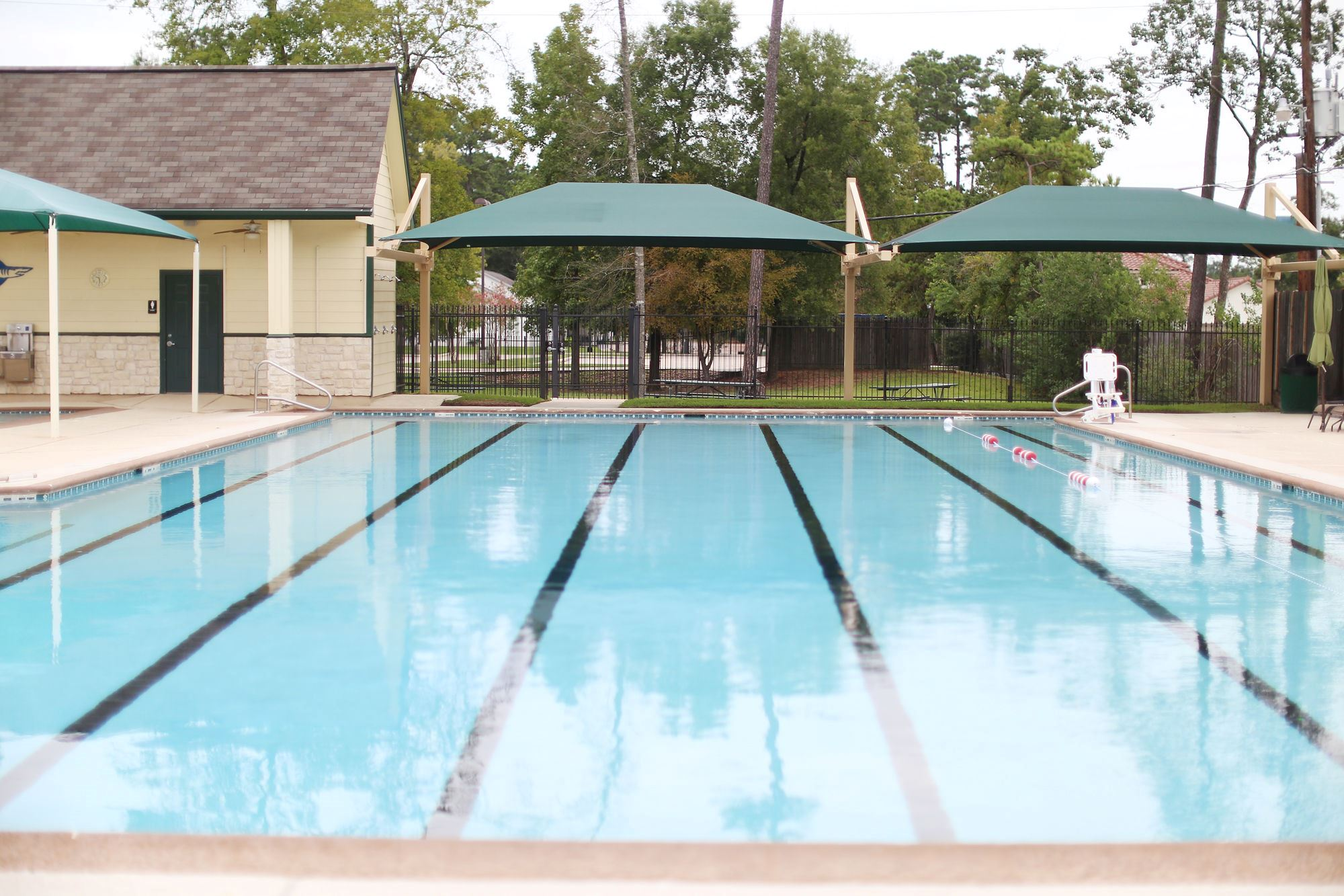 View of the pool looking toward the awnings
