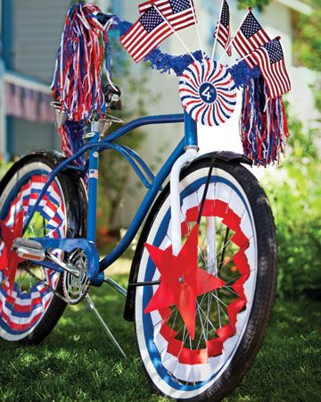 decorated bike for patriotic parade image