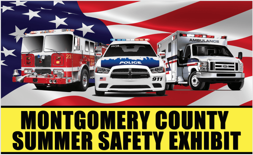 MCO Safety Exhibit image with police, fire and ems vehicles
